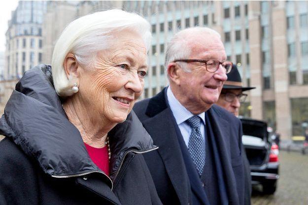 L'ex reine Paola et l'ex-roi des Belges Albert II à Bruxelles, le 15 novembre 2016