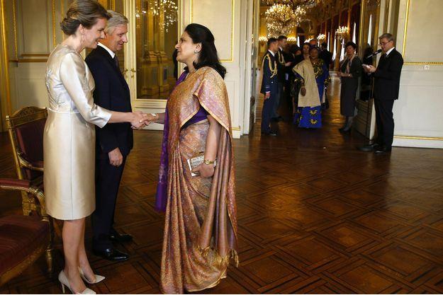 La reine Mathilde et le roi des Belges Philippe à Bruxelles, le 16 janvier 2018