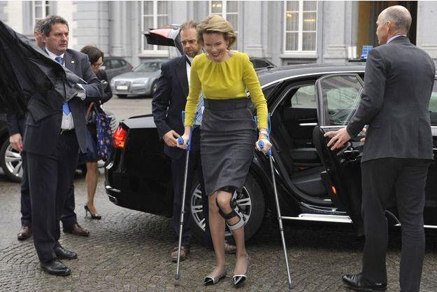 La reine Mathilde, épouse du roi Philippe, au Palais d'Egmont à Bruxelles mardi 3 mars.