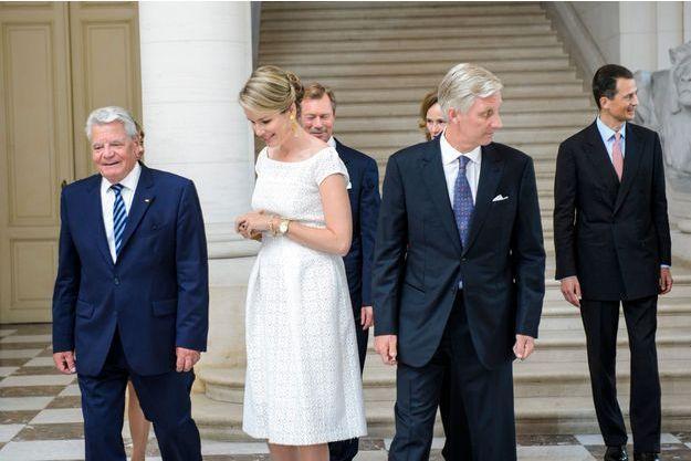 La reine Mathilde et le roi Philippe de Belgique reçoivent les chefs d'Etat germanophones au château de Laeken à Bruxelles, le 7 septembre 2016