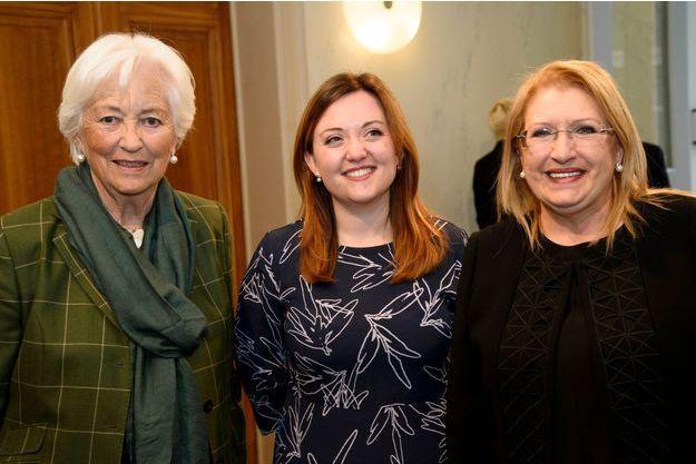 La reine Paola de Belgique avec Federica Toscano (de Missing Children Europe) et Marie-Louise Coleiro Preca à Bruxelles, le 11 avril 2018