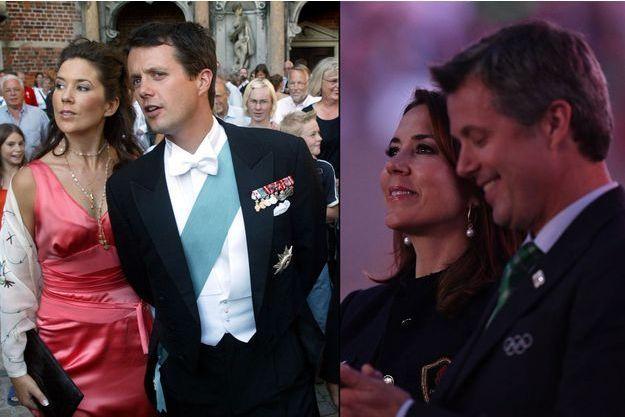 Le prince Frederik de Danemark et Mary à Copenhague le 24 août 2002 et aux JO de Rio le 5 août 2016