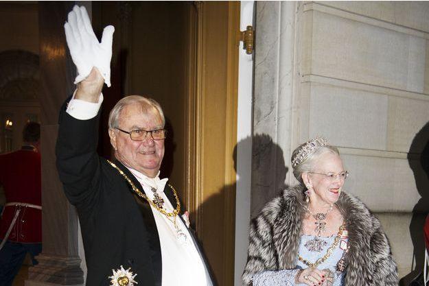 La reine Margrethe II de Danemark et le prince consort Henrik au dîner du Nouvel An à Copenhague, le 1er janvier 2016