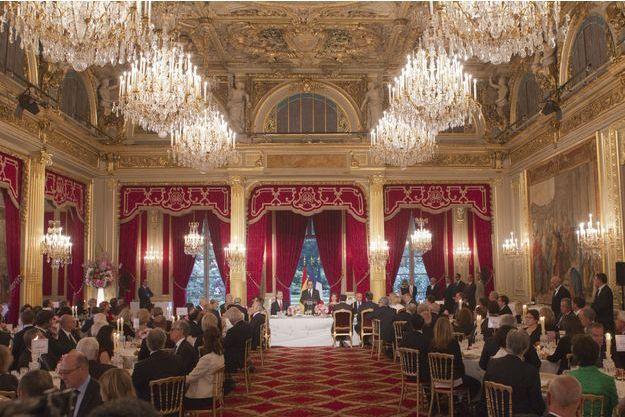 Le dîner d'Etat donné à l'Élysée mardi soir, en l'honneur du roi Felipe VI d'Espagne et de son épouse la reine Letizia.
