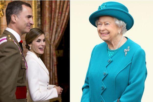 Le roi Felipe VI et la reine Letizia d'Espagne le 6 janvier 2016 - La reine Elizabeth II le 4 février 2016