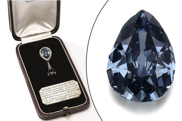 Le Farnese blue, diamant bleu de la reine Elisabeth d'Espagne, en vente chez Sotheby's à Genève, le 15 mai 2018