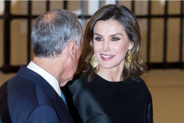 La reine Letizia d'Espagne à Madrid avec le président du Portugal Marcelo Rebelo de Sousa, le 17 avril 2018