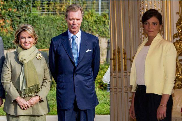 La duchesse Maria-Teresa et le grand-duc Henri de Luxembourg le 27 septembre 2017. A droite, leur fille la princesse Alexandra, le 11 mai 2017