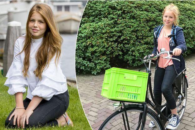 La princesse Alexia des Pays-Bas le 7 juillet 2017. A droite, en route pour le lycée le 21 août 2017