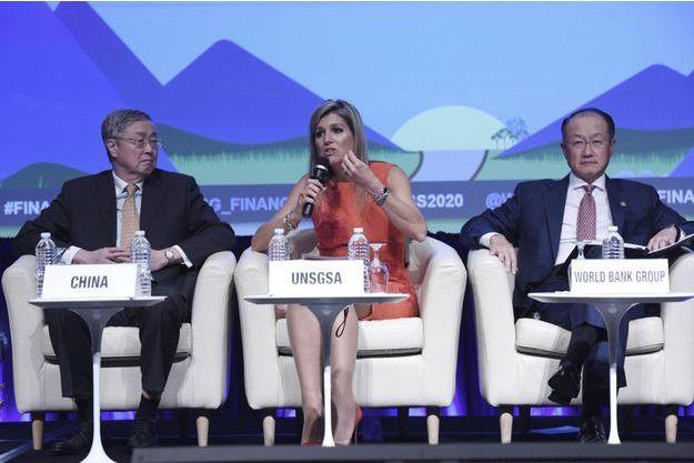 La reine Maxima des Pays-Bas à la réunion annuelle du Groupe de la Banque mondiale et du Fonds monétaire international à Washington, le 7 octobre 2016