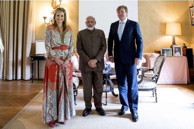 La reine Maxima des Pays-Bas et le roi Willem-Alexander avec le Premier ministre indien Narendra Modi