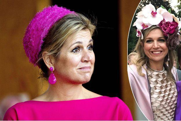 La reine Maxima des Pays-Bas le 29 juin 2017. En médaillon, le 1er juillet 2017 aux 50 ans du prince Pavlos de Grèce