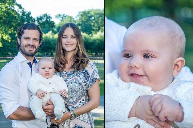 Le prince Alexander de Suède avec ses parents le prince Carl Philip et la princesse Sofia, en août 2016