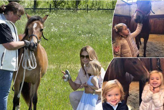 Avec la princesses Madeleine de Suède, Leonore avait rencontré son poney au Gotland le 3 juin 2016. En vignettes : la princesse Leonore et le prince Nicolas avec Heidi, en septembre 2017