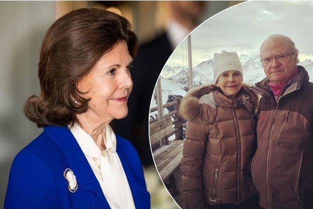 La reine Silvia de Suède à Stockholm, le 12 décembre 2016. En médaillon : avec le roi Carl XVI Gustaf dans les Alpes suisses, le 4 janvier 2017