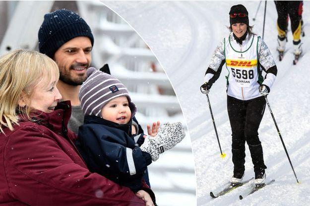 La princesse Sofia de Suède court la Tjejvasan, le 24 février 2018, sous les yeux des princes Carl Philip, Alexander et Gabriel, et de Marie Hellqvist