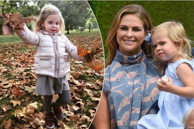 L'adorable photo de la princesse Leonore de Suède publiée sur Facebook le 2 octobre 2016. A droite, avec sa mère la princesse Madeleine, le 19 juillet 2016