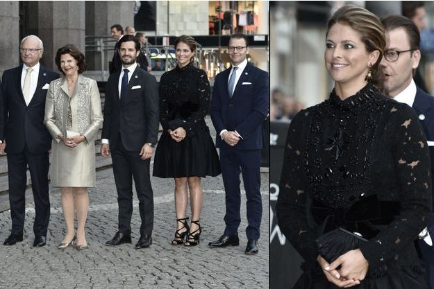 La princesse Madeleine de Suède avec le roi Carl XVI Gustaf, la reine Silvia et les princes Carl Philip et Daniel à Stockholm, le 12 septembre 2016