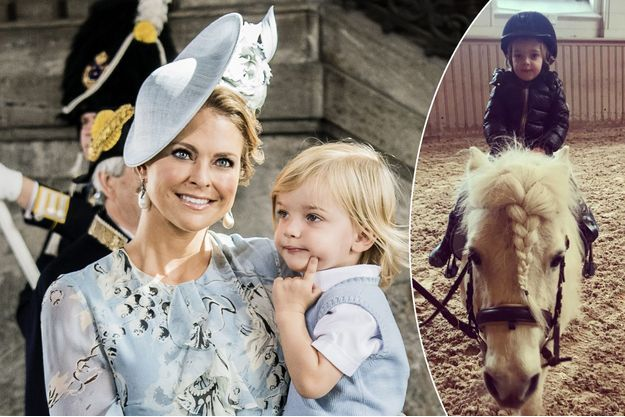La princesse Madeleine de Suède et son fils le prince Nicolas, le 14 juillet 2017. A droite, le prince Nicolas de Suède, photo diffusée le 24 mars 2018