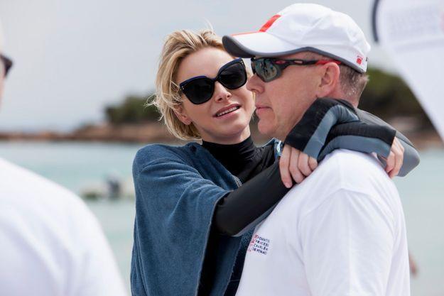 """Charlène et Albert II de Monaco lors de l'opération """"Water Safety"""" organisée en Corse le 23 juin dernier."""