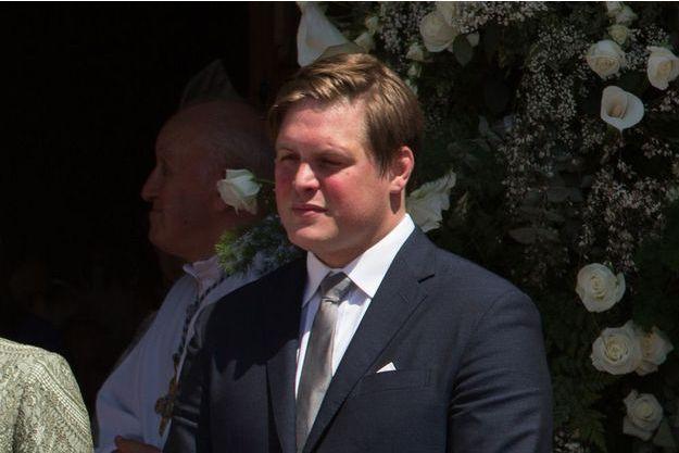 Christopher Le Vine Jr, le parrain du prince Jacques de Monaco à la sortie du baptème.