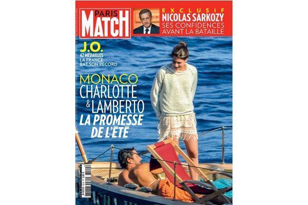 La une de Paris Match cette semaine avec Charlotte Casiraghi et Lamberto.
