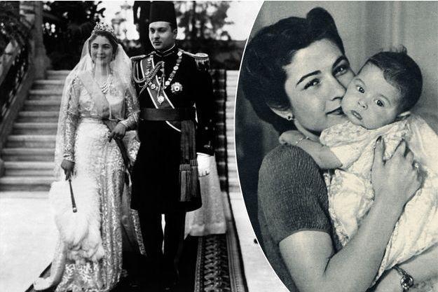 La reine Farida d'Egypte le jour de son mariage avec le roi Farouk au Caire le 28 janvier 1938, et avec la princesse Feriyal en 1939