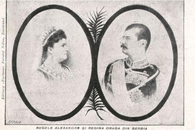 Portraits de la reine Draga et du roi Alexandre Ier de Serbie