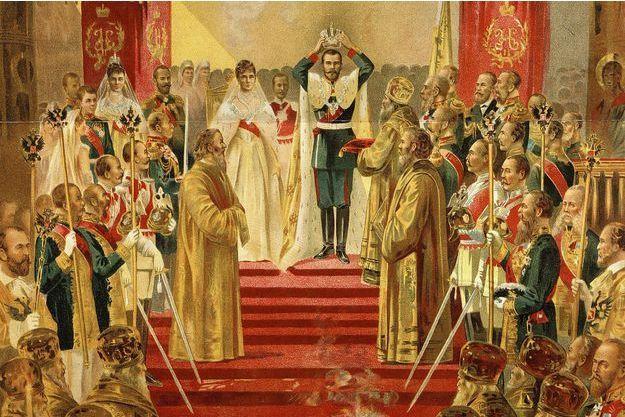 Le couronnement de Nicolas II, le 14 mai 1896, gravure russe (détail)