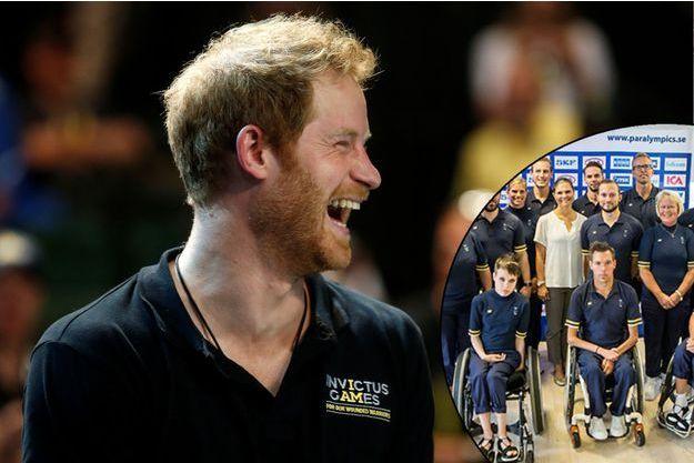 Le prince Harry aux Invictus Games à Orlando, le 9 mai 2016 - En médaillon: la princesse Victoria de Suède avec des membres de l'équipe paralympique suédoise en août 2016
