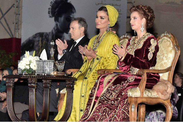 La Sheikha Mozah du Qatar et Lalla Salma du Maroc à Fès, le 7 mai 2016