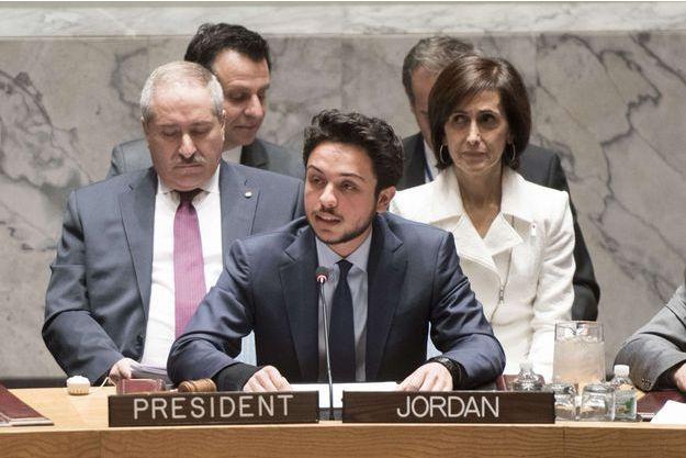 Le prince héritier Hussein Ben Abdallah lors de son intervention, jeudi, au Conseil de sécurité des Nations unies.