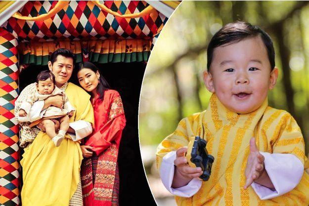 Le roi et la reine du Bhoutan avec leur Royal Baby le 31 juillet 2017. A droite, la photo du prince héritier diffusée en février 2017