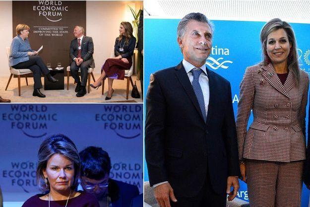 Les reines Rania de Jordanie, Mathilde de Belgique et Maxima des Pays-Bas à Davos, le 24 janvier 2018