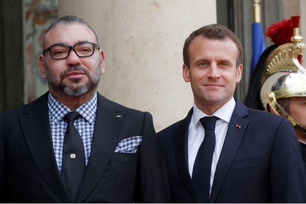 Mohammed VI avec le président français Emmanuel Macron, le 10 avril à l'Élysée.
