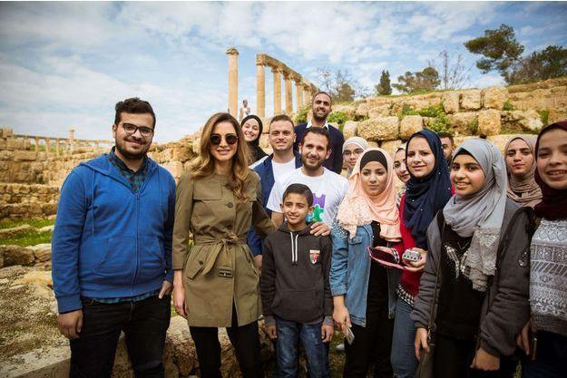 La reine Rania de Jordanie à Jerash, le 20 février 2018