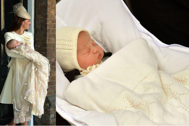 La princesse Charlotte (à droite) devrait porter la même robe de baptème que son frère le prince George (à gauche)