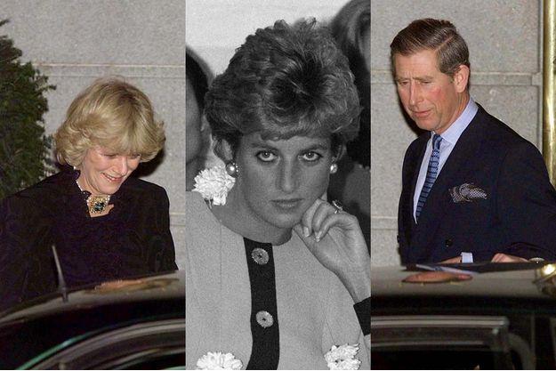 Charles et Camilla lors de leur première apparition publique ensemble en 1999, à l'occasion des 50 ans de la future duchesse de Cornouailles. Au centre, Diana en 1993.