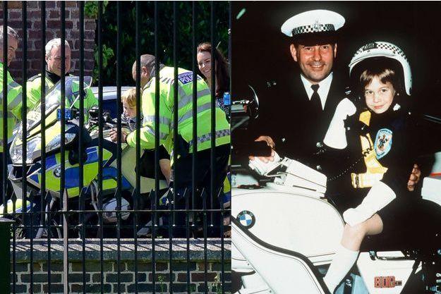 Le prince George avec sa mère la duchesse Catherine de Cambridge à Londres, le 24 mai 2016 - Le prince William sur une moto de la police de Windsor, le 13 novembre 1987