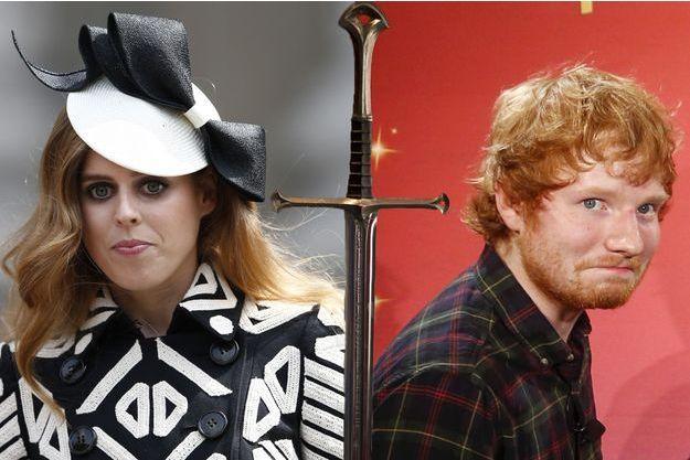 La princesse Beatrice en juin 2016 et le chanteur Ed Sheeran en mai 2015