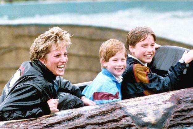 Lady Diana et ses fils les princes Harry et William, le 13 avril 1993