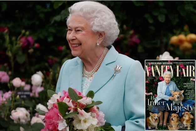 """La reine Elizabeth II, le 23 mai 2016 - En médaillon: couverture du dernier numéro de """"Vanity Fair"""" pour ses 90 ans"""