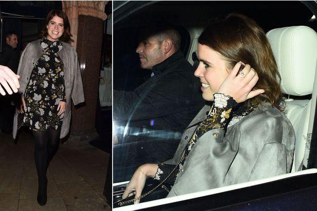 La princesse Eugenie d'York montre sa bague de fiançailles à Londres, le 23 janvier 2018