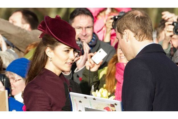 Kate et William lors du passage de la famille royale à l'église St Mary Magdalene de Sandringham, en 2011.