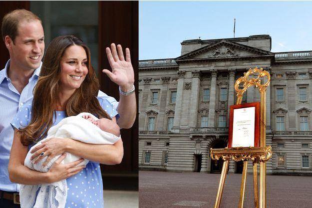 La duchesse de Cambridge, née Kate Middleton, et le prince William à la naissance du prince George, et la proclamation dans la cour de Buckingham le 22 juillet 2013.