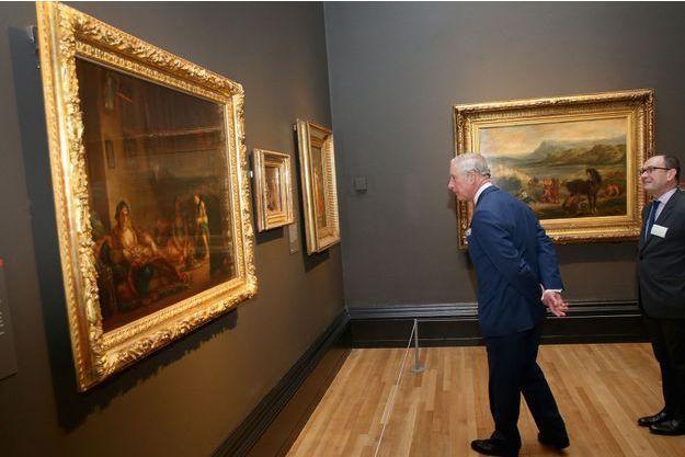 Le prince Charles visite en avant-première l'exposition Delacroix à la National Gallery à Londres, le 15 février 2016