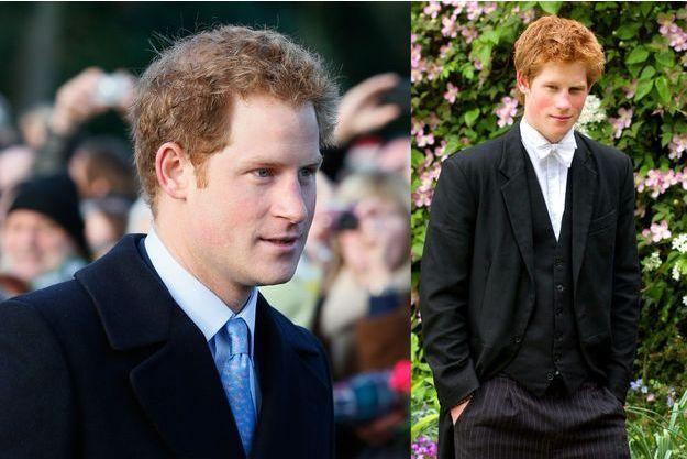 Le prince Harry le 25 décembre 2014 à Sandringham et le 7 juin 2003 dans son uniforme d'Eton College