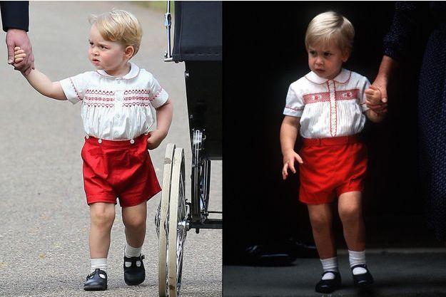 Le prince George, ce dimanche 5 juillet 2015, et le prince William, le 16 septembre 1984.