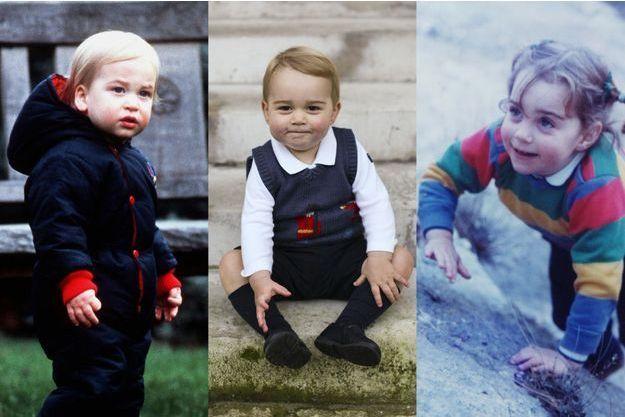 Le prince George en décembre 2014, entre son père et sa mère. Le prince William, à un an et demi, en décembre 1983 et Kate Middleton, à 3 ans et demi, à l'été 1985.
