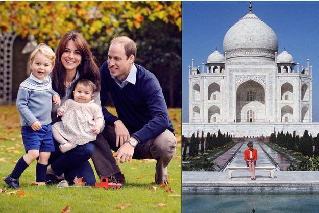 Le prince William, son épouse la duchesse de Cambridge, née Kate Middleton, et leurs enfants, le prince George et la princesse Charlotte, en octobre 2015 ; et la princesse Diana devant le Taj Mahal en 1992.